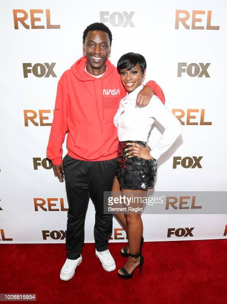 Comedian Jerrod Carmichael and actress Jessica Jess Hilarious Moore attend the New York screening of REL at Magic Johnson theater Harlem on September...