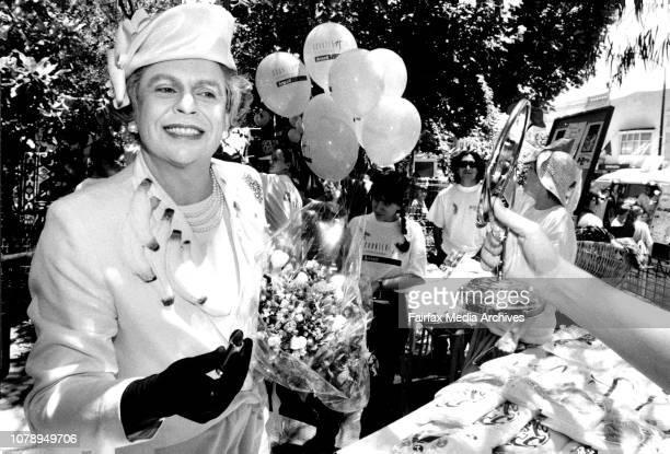 Comedian Jerry Connolly dressed as the Queen appeared at the padding Paddington markets today for counter AIDS day in SydneyHer Majestry The Queen...