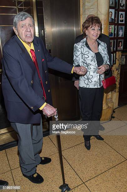 Comedian Jerry Lewis and SanDee Pitnick attend the 90th Birthday of Jerry Lewis at The Friars Club on April 8 2016 in New York City