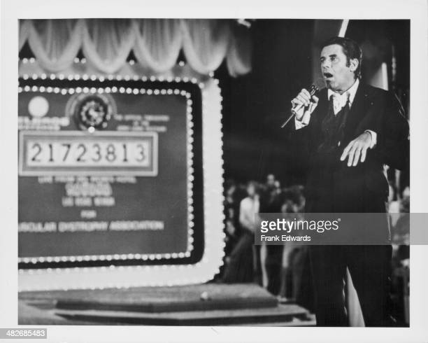Comedian Jerry Lewis on stage at the Jerry Lewis Telethon at the Sahara Hotel Las Vegas September 1976