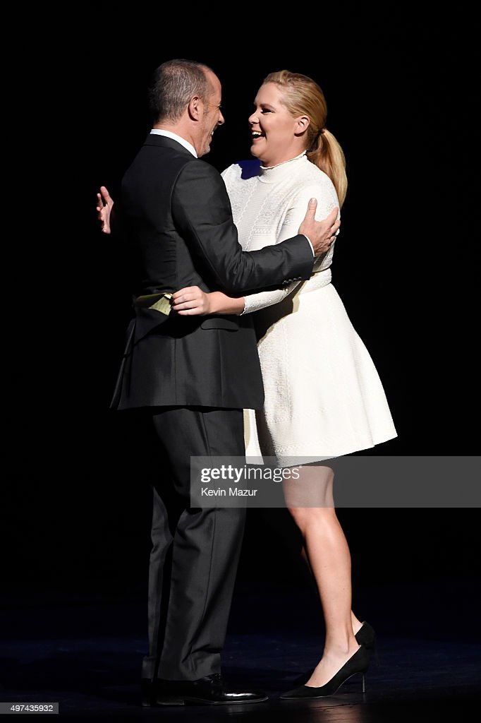 Comedian Jerry Seinfeld (L) and actress Amy Schumer perform onstage as Baby Buggy celebrates 15 years with 'An Evening with Jerry Seinfeld and Amy Schumer' presented by Bank of America - Inside at Beacon Theatre on November 16, 2015 in New York City.