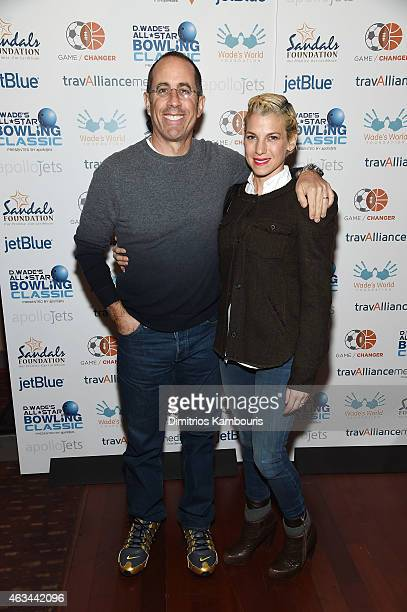 Comedian Jerry Seinfeld and author Jessica Seinfeld attend Dwyane Wade's AllStar Bowling Classic hosted by the Sandals Foundation on February 14 2015...