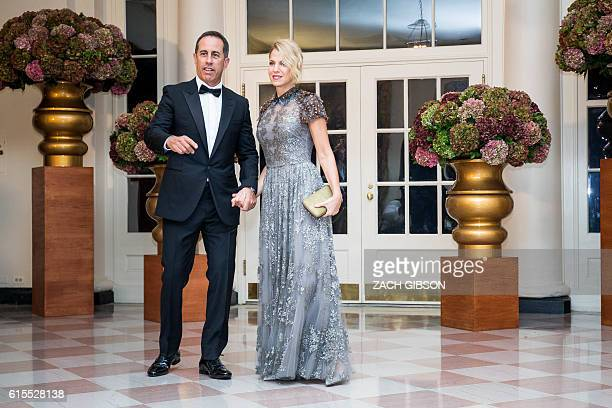 Comedian Jerry Seinfeld and Jessica Seinfeld arrive for a State Dinner in honor of Italian Prime Minister Matteo Renzi and his wife Agnese Landini at...
