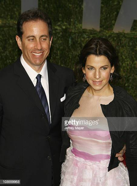 Comedian Jerry Seinfeld and wife Jessica Seinfeld arrive at the 2009 Vanity Fair Oscar Party Hosted By Graydon Carter at the Sunset Tower on February...