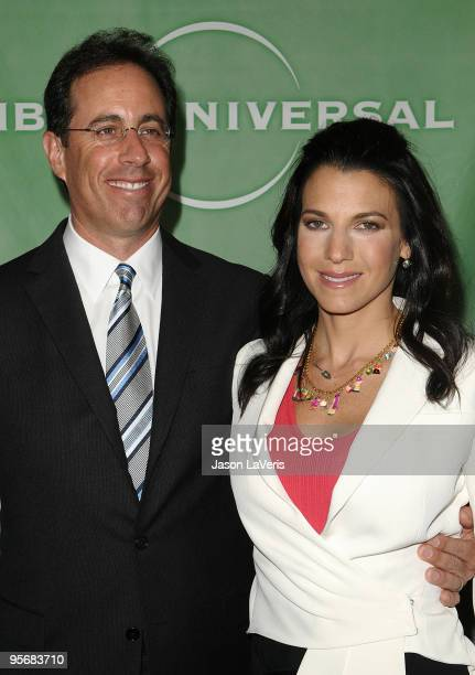Comedian Jerry Seinfeld and wife Jessica Seinfeld attend the NBC Universal press tour cocktail party at The Langham Resort on January 10, 2010 in...