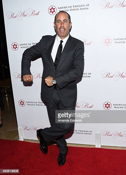 Comedian Jerry Seinfeld arrives at the American Friends of Magen David Adom's Third Annual Red Star Ball at The Beverly Hilton Hotel on October 22...