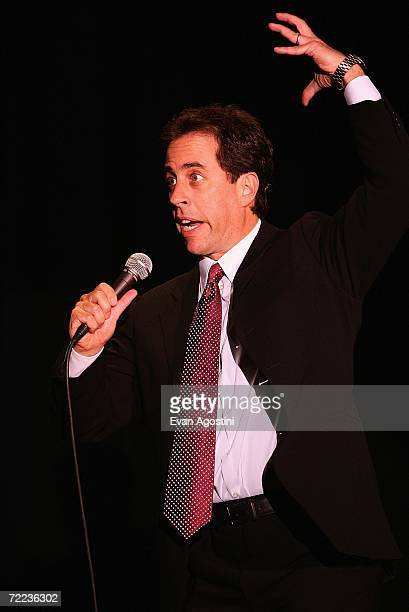 Comedian Jerry Seinfeld performs during the Mohegan Sun 10th Anniversary celebration at Mohegan Sun October 21 2006 in Uncasville Connecticut