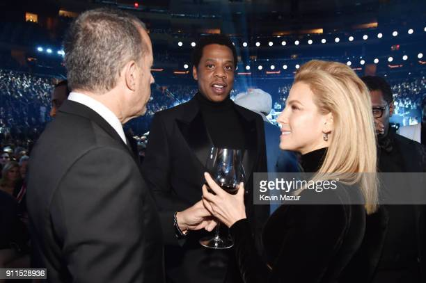Comedian Jerry Seinfeld recording artist Jay Z and Jessica Seinfeld attend the 60th Annual GRAMMY Awards at Madison Square Garden on January 28 2018...