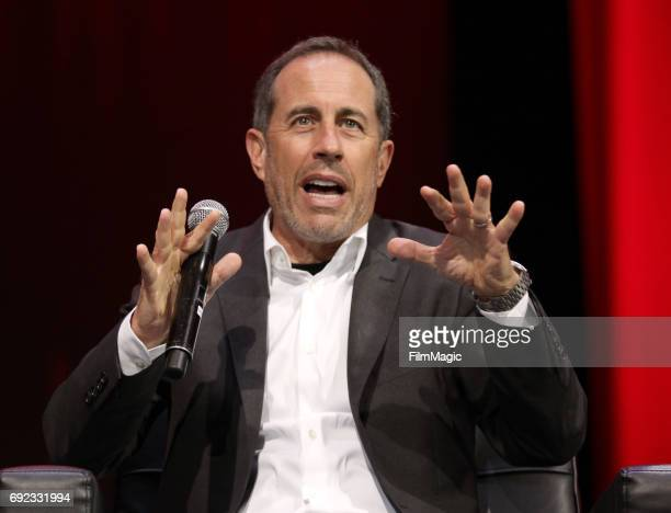 Comedian Jerry Seinfeld speaks onstage at The Bill Graham Stage during Colossal Clusterfest at Civic Center Plaza and The Bill Graham Civic...