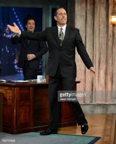 Comedian Jerry Seinfeld visits 'Late Night With Jimmy Fallon' at Rockefeller Center on September 25 2012 in New York City