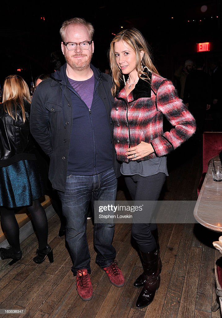 Comedian Jim Gaffigan and actress Mira Sorvino attend the after party for The Cinema Society with Roger Dubuis and Grey Goose screening of FilmDistrict's 'Olympus Has Fallen' at The Darby on March 11, 2013 in New York City.