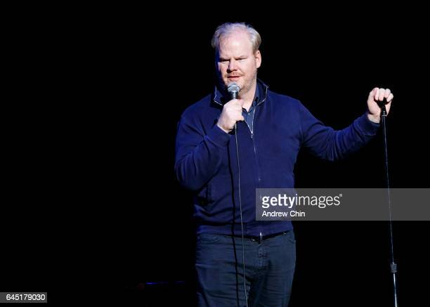 Comedian Jim Gaffigan performs on stage during JFL NorthWest at Queen Elizabeth Theatre on February 24 2017 in Vancouver Canada