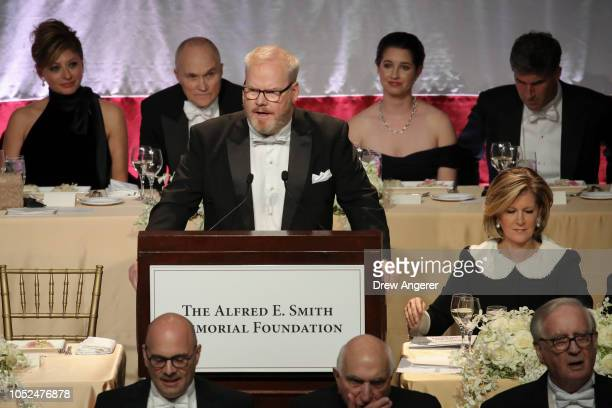 Comedian Jim Gaffigan speaks at the annual Alfred E Smith Memorial Foundation dinner October 18 2018 in New York City The annual whitetie dinner...