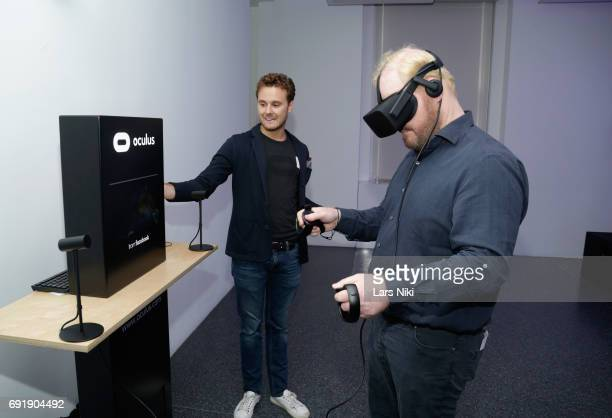 Comedian Jim Gaffigan uses Oculus VR at the Celebrity Chef Cat Cora Celebrates the InHome Release of BEAUTY AND THE BEAST event With a Special Brunch...