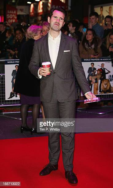Comedian Jimmy Carr jokes with photographers as he attends the World Premiere of Gambit at Empire Leicester Square on November 7 2012 in London...