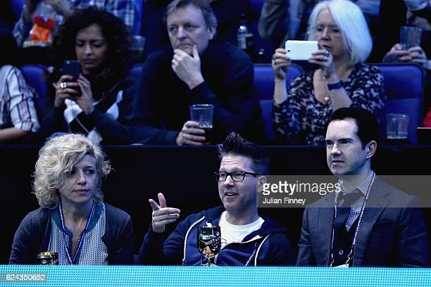 Comedian Jimmy Carr watches the action during the men's singles semi final between Andy Murray of Great Britain and Milos Raonic of Canada on day...