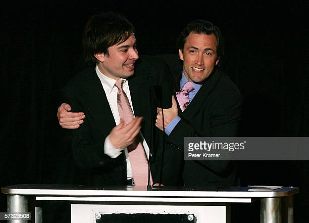 Comedian Jimmy Fallon and actor Andrew Shue speak as they attend the 2006 Brick Awards sponsored by Kohl's at Capitale on April 11th, 2006 in New...