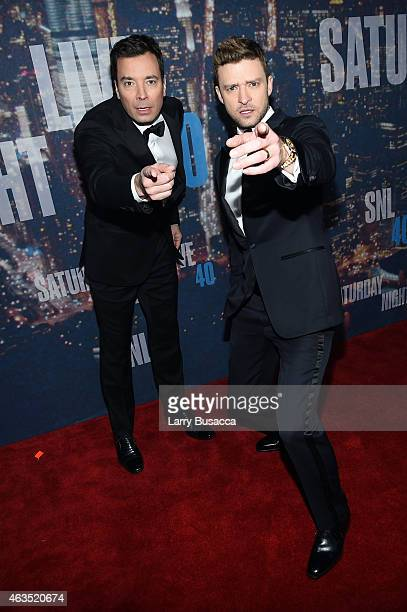 Comedian Jimmy Fallon and Justin Timberlake attend SNL 40th Anniversary Celebration at Rockefeller Plaza on February 15 2015 in New York City