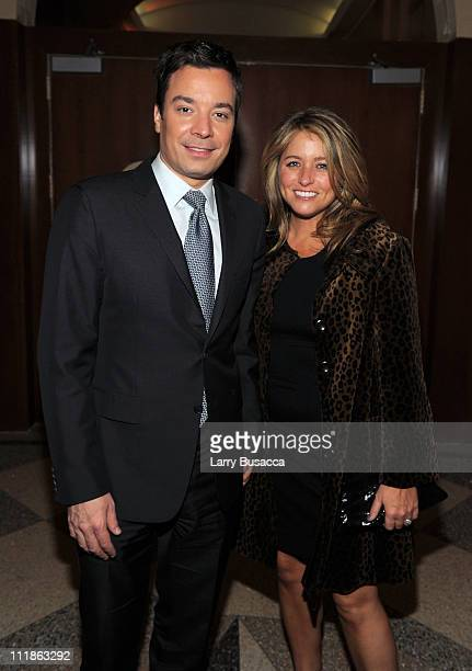 Comedian Jimmy Fallon and Nancy Juvonen attend Food Bank For New York City's Annual CanDo Awards Gala at Pier Sixty at Chelsea Piers on April 7 2011...