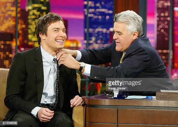 Comedian Jimmy Fallon appears on The Tonight Show with Jay Leno at the NBC Studios on September 22 2004 in Burbank California