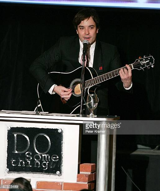 Comedian Jimmy Fallon performs with a guitar as he attends the 2006 Brick Awards, sponsored by Kohl's, at Capitale on April 11, 2006 in New York City.