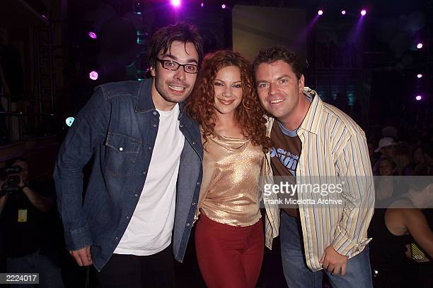 Comedian Jimmy Fallon singer Nikka Costa and VJ Dave Holmes at the MTV 20th Anniversary party MTV20 Live and Almost Legal at Hammerstein Ballroom in...