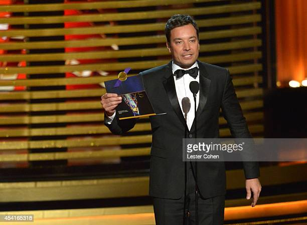 Comedian Jimmy Fallon speaks onstage at the 66th Annual Primetime Emmy Awards held at Nokia Theatre LA Live on August 25 2014 in Los Angeles...