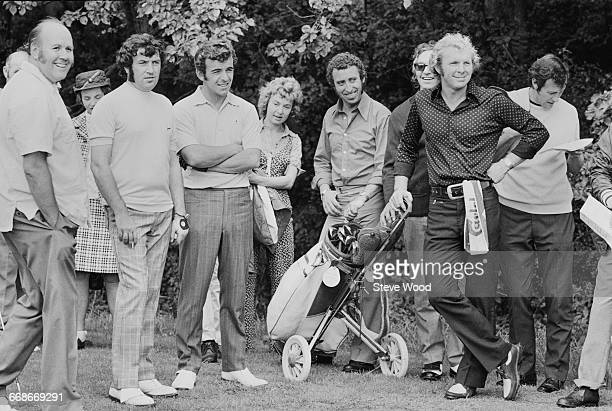 Comedian Jimmy Tarbuck , golfer Tony Jacklin and footballer Bobby Moore take part in a Pro-Am golf tournament at Abridge Golf Club, Essex, UK, 22nd...