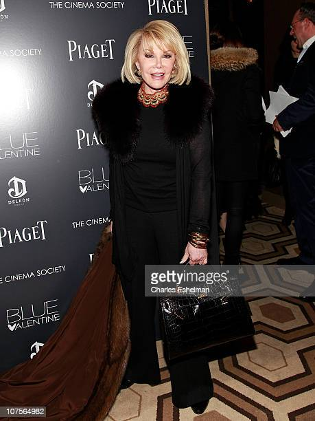 Comedian Joan Rivers attends The Cinema Society Piaget screening of Blue Valentine at the Tribeca Grand Hotel on December 13 2010 in New York City