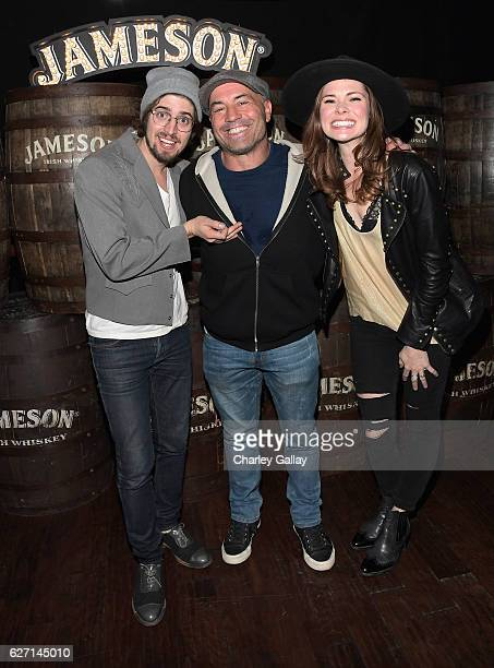 Comedian Joe Rogan and HONEYHONEY celebrate the launch of Jameson Music at The Down Out on December 1 2016 in Los Angeles California