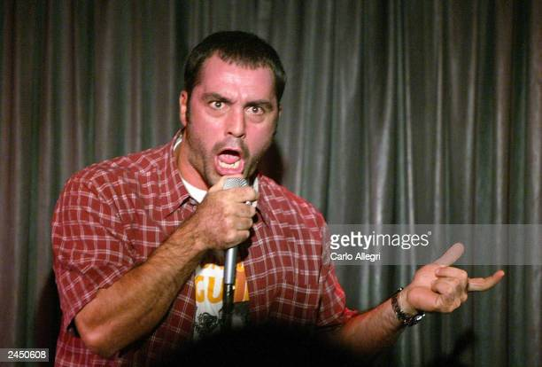 Comedian Joe Rogan of The Man Show performs a set at the Comedy Store August 30 2003 in Hollywood California