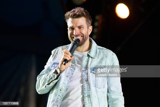 Comedian Joel Dommett headlines a set on the Alternative stage during Reading Festival 2021 at Richfield Avenue on August 29, 2021 in Reading,...