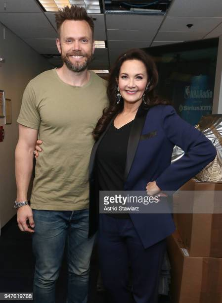 Comedian Joel McHale and actress Lynda Carter visit the SiriusXM studios on April 17 2018 in New York City