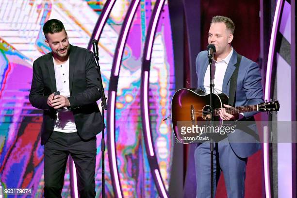 Comedian John Crist and artist Matthew West perform onstage during the 6th Annual KLOVE Fan Awards at The Grand Ole Opry on May 27 2018 in Nashville...