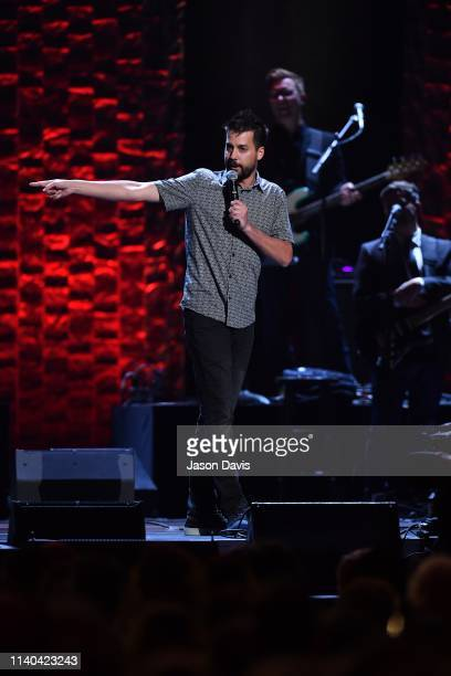 Comedian John Crist performs on stage during 35 Years of Friends Celebrating The Music Of Michael W Smith at Bridgestone Arena on April 30 2019 in...