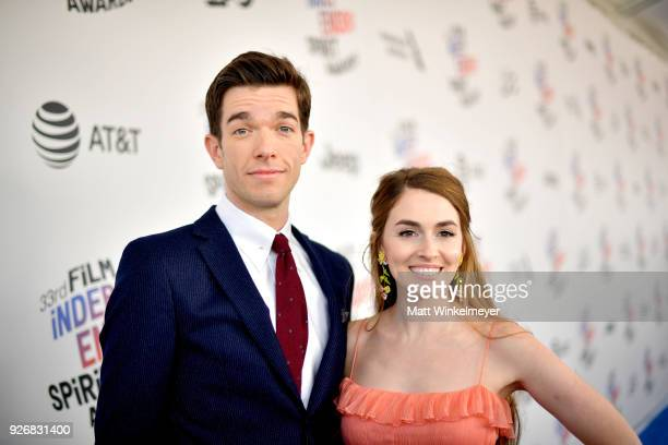 Comedian John Mulaney and wife Annamarie Tendler attends the 2018 Film Independent Spirit Awards on March 3 2018 in Santa Monica California