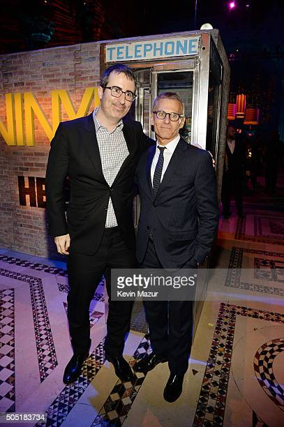 Comedian John Oliver and HBO President of Programming Michael Lombardo attend the after party of the New York premiere of 'Vinyl' at Ziegfeld Theatre...