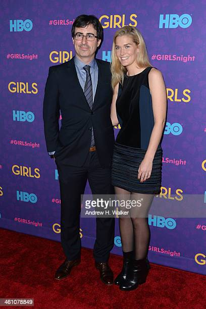 Comedian John Oliver and Kate Norley attend the 'Girls' season three premiere at Jazz at Lincoln Center on January 6 2014 in New York City