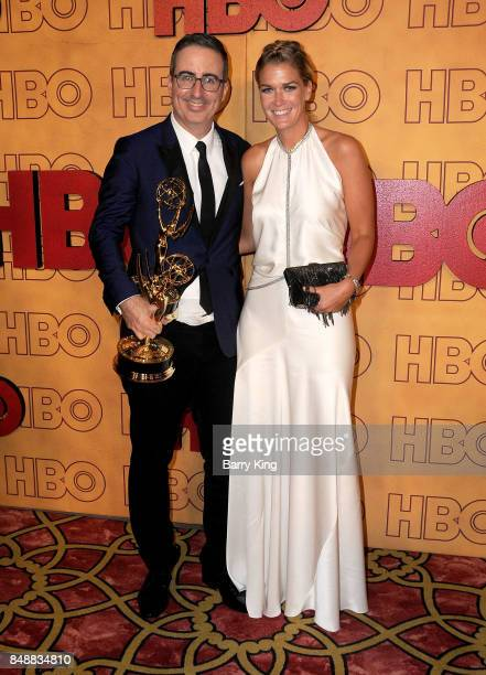 Comedian John Oliver and wife Kate Norley attend HBO's Post Emmy Awards Reception at The Plaza at the Pacific Design Center on September 17 2017 in...