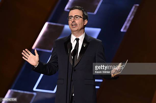 Comedian John Oliver onstage during the 67th Annual Primetime Emmy Awards at Microsoft Theater on September 20 2015 in Los Angeles California