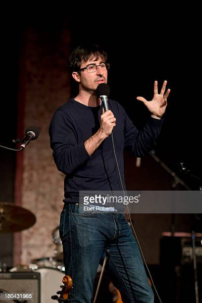 Comedian John Oliver performs at John Wesley Harding's Cabinet of Wonders concert at the City Winery in New York on December 16 2012