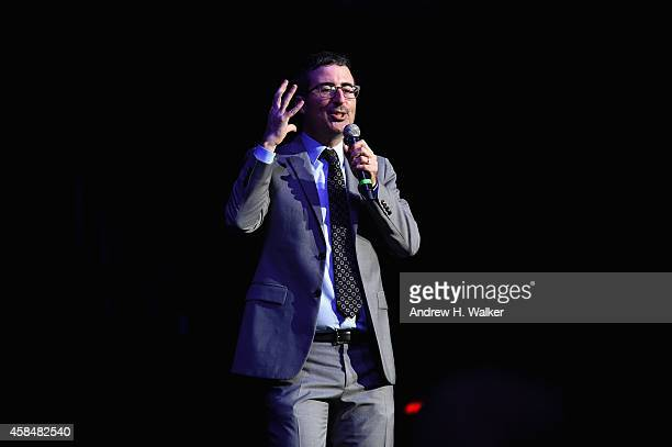 Comedian John Oliver performs onstage at 2014 Stand Up For Heroes at Madison Square Garden at Madison Square Garden on November 5 2014 in New York...