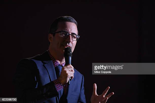 Comedian John Oliver performs onstage during the Natural Resources Defense Council's 'NRDC's Night of Comedy' Benefit with Seth Meyers John Oliver...