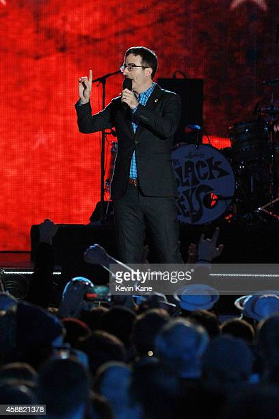 Comedian John Oliver speaks onstage during 'The Concert For Valor' at The National Mall on November 11 2014 in Washington DC