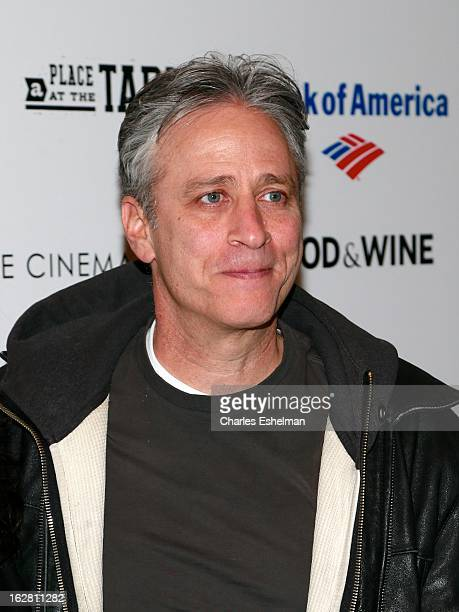 Comedian Jon Stewart arrives at Bank of America and Food Wine with The Cinema Society present a screening of 'A Place at the Table' at the Celeste...