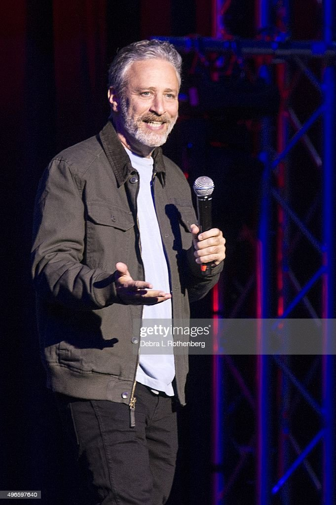 Comedian Jon Stewart at the 9th Annual Stand Up For Heroes Event presented by the New York Comedy Festival and the Bob Woodruff Foundation at Madison Square Garden on November 10, 2015 in New York City.