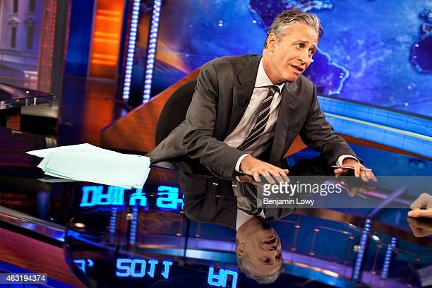 Comedian Jon Stewart host of Comedy Central's The Daily Show rehearses on set on August 9 2011 in New York
