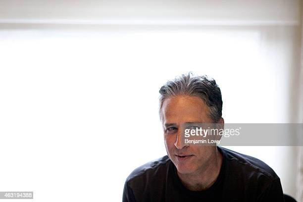 Comedian Jon Stewart host of Comedy Central's The Daily Show works in his office on August 9 2011 in New York