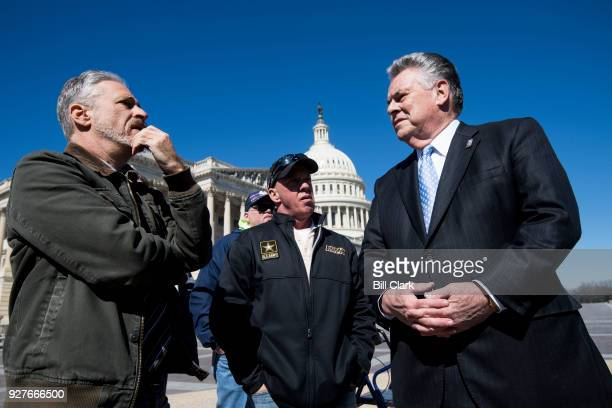Comedian Jon Stewart left speaks with Rep Peter King RNY before the start of the press conference on Monday March 5 to call on OMB Director Mick...