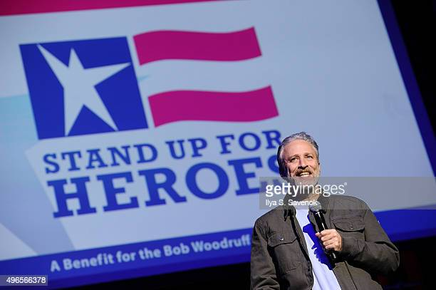 Comedian Jon Stewart performs on stage at the New York Comedy Festival and the Bob Woodruff Foundation's 9th Annual Stand Up For Heroes Event on...